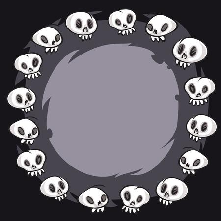 Cartoon Skulls Round Frame Vector
