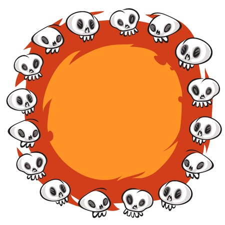 Cartoon Skulls Round Frame on White Background Vector