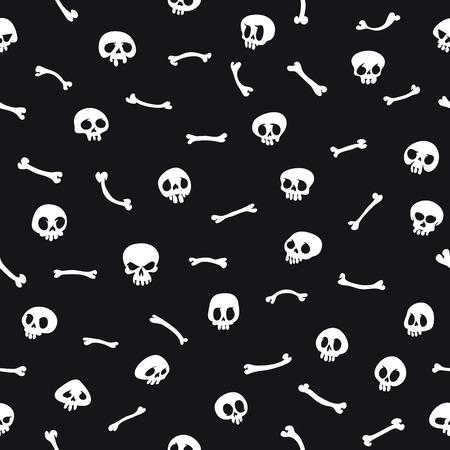 White Cartoon Skulls on Black Background Seamless Pattern Vector