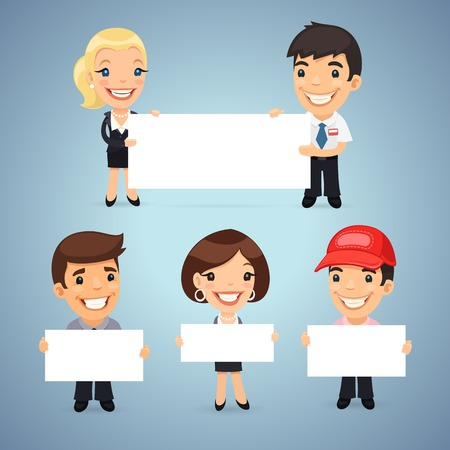 Managers With Blank Placards. In the EPS file, each element is grouped separately. Clipping paths included in additional jpg format. Illustration