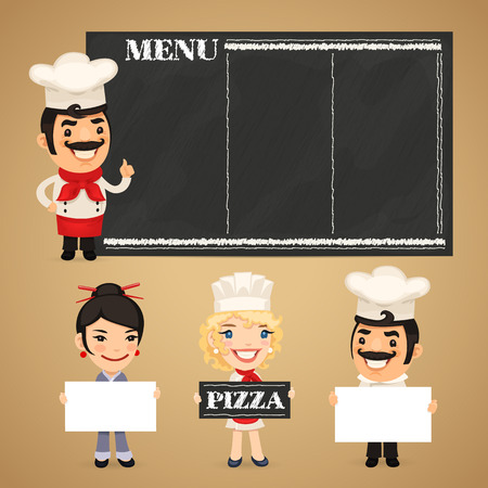 Chefs Presenting Empty Banners. In the EPS file, each element is grouped separately. Clipping paths included in additional jpg format. Vector