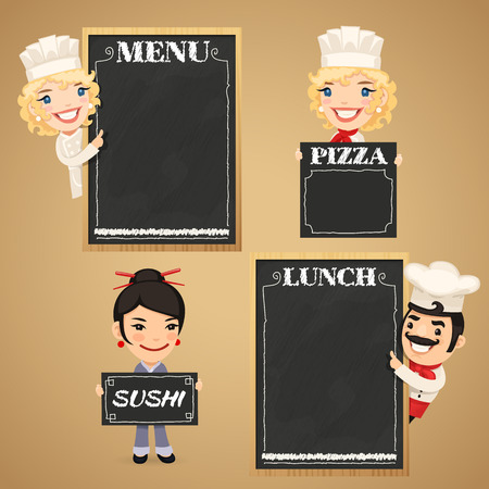Chefs Cartoon Characters with Chalkboard Menu. In the EPS file, each element is grouped separately. Clipping paths included in additional jpg format. Illustration