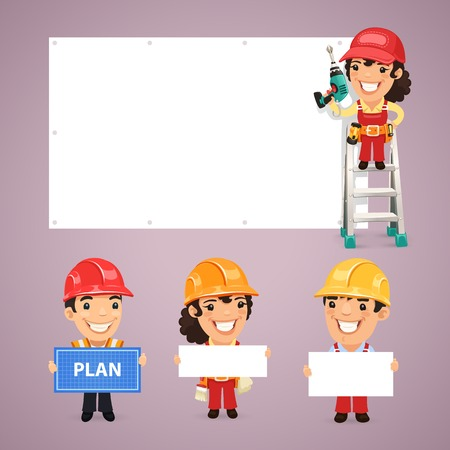 Builders Presenting Empty Banners. In the EPS file, each element is grouped separately. Clipping paths included in additional jpg format. Vector