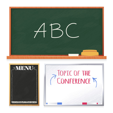 white bacground: Chalkboards Set Isolated on White Background. In the EPS file, each element is grouped separately. Isolated on White Bacground. Clipping paths included in additional jpg format