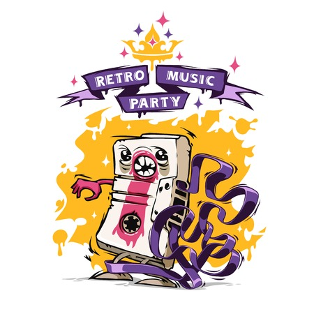Retro Music Party Poster. In the EPS file, each element is grouped separately. Isolated on white background. Clipping paths included in additional jpg format Vector