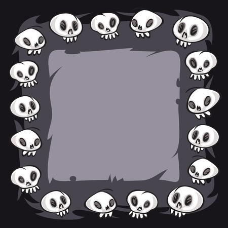 Cartoon Skulls Square Frame Vector