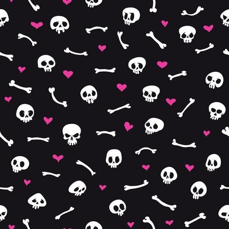 Cartoon Skulls with Hearts on Black Background Seamless Pattern Vector
