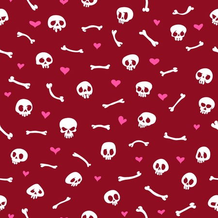 Cartoon Skulls with Hearts on Red Background Seamless Pattern Vector