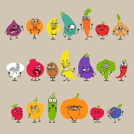 pepino caricatura: Frutas y verduras de dibujos animados con expresiones faciales Set