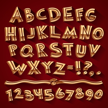 Golden Retro 3D Font with Strips on Red Background Vector