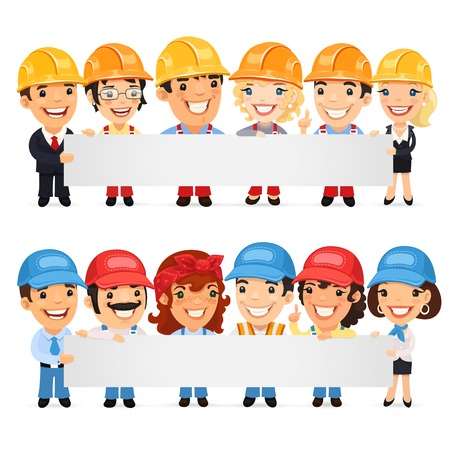 Builders Presenting Empty Horizontal Banner Illustration