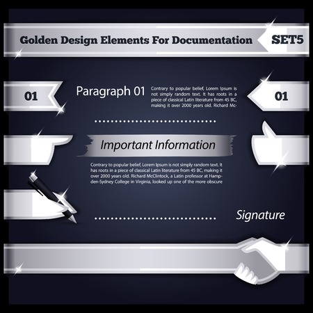 iron ribbon: Silver Design Elements For Documentation Set5