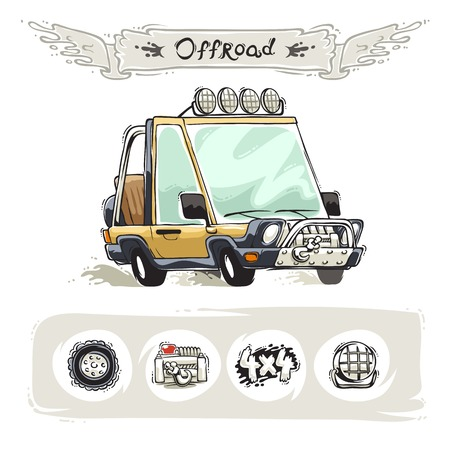 playa caricatura: Beach Cartoon SUV Set