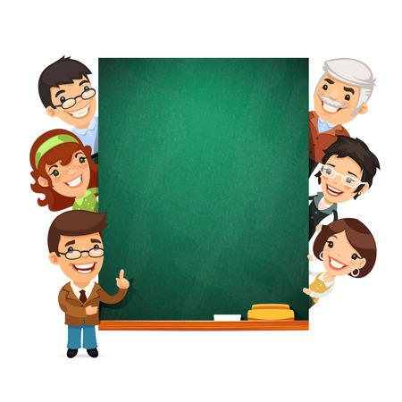 Teachers Presenting Empty Chalkboard Vector