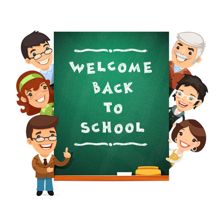 Teacher Points to the Blackboard with Welcome Back to School Phr Vector