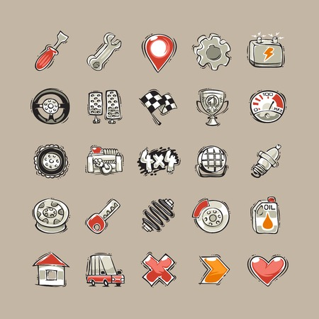 shock absorber: Doodle Cars Icons Set