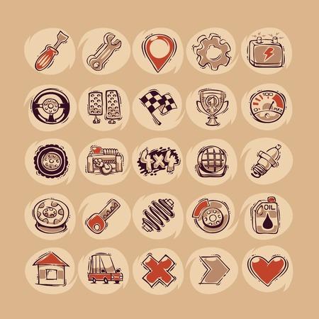car battery: Retro Cars Icons Set Illustration
