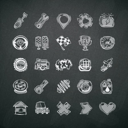 shock absorber: Icons Set of Car Symbols on Blackboard