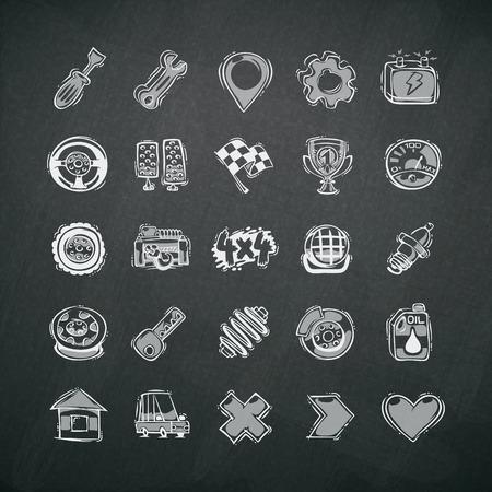 car battery: Icons Set of Car Symbols on Blackboard