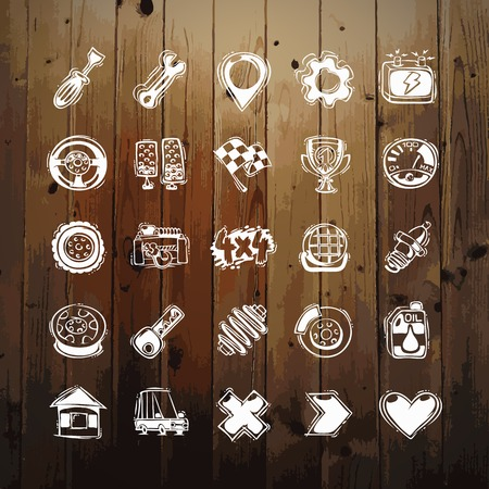 shock absorber: Icons Set of Car Symbols on Wood Texture