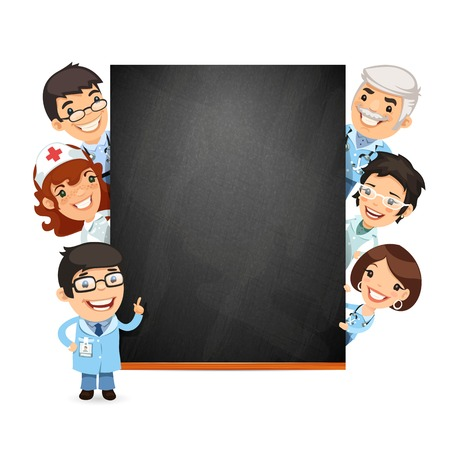 blackboard cartoon: Doctors Presenting Empty Blackboard Illustration