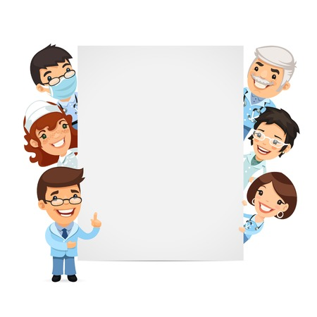 Doctors Presenting Empty Vertical Banner Illustration