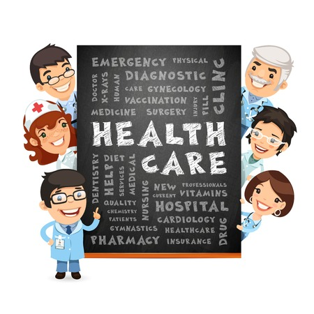 Doctors Presenting Health Care Poster. Isolated on White Background. Clipping paths included in additional jpg format. Vector