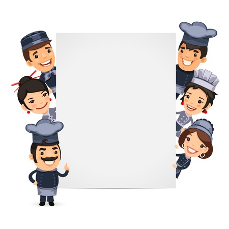 meet: Chefs Presenting Empty Vertical Banner. Isolated on White Background.