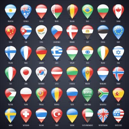 banderas del mundo: Conjunto de cristal Mapa Punteros Con Unidos Banderas del mundo. Caminos de recortes incluidos en formato jpg adicional Vectores