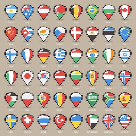 Set of Cartoon Map Pointers With World States Flags. Clipping paths included in additional jpg format
