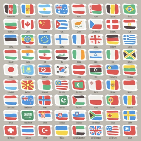 cartoon world: Set of World States Flags. Clipping paths included in additional jpg format