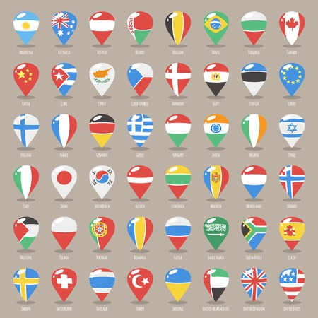 pointer emblem: Set of Flat Map Pointers With World States Flags. Clipping paths included in additional jpg format