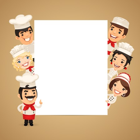Chefs Presenting Empty Vertical Banner Ilustração