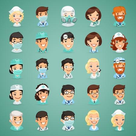 Doctors Cartoon Characters Icons Set