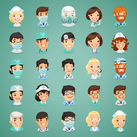 enfermera caricatura: Médicos Cartoon Characters Icons Set