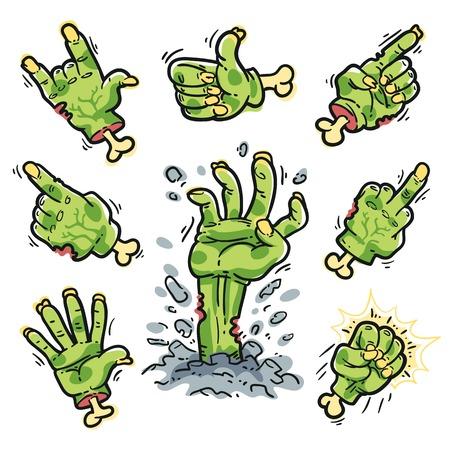 gore: Cartoon Zombie Hands Set for Horror Design Illustration