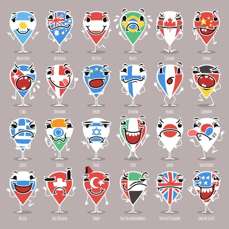 Set of Cartoon Map Pointers With Expressions Vector