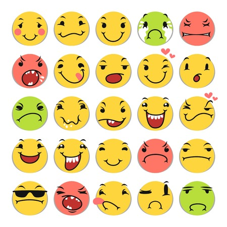 Cartoon Smile Icons Set Vector