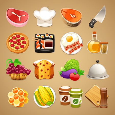 cartoon ham: Food and Kitchen Accessories Icons Set1.1