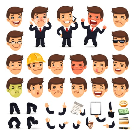 Set of Cartoon Businessman Character for Your Design Vectores