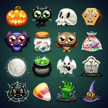 fear cartoon: Halloween Cartoon Icons Set