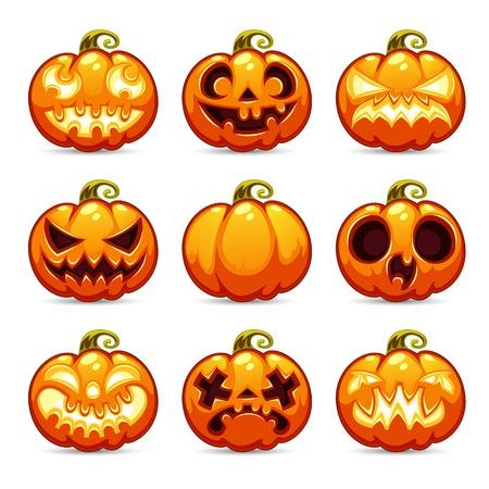 calabaza caricatura: Calabazas de Halloween Cartoon Icons Set