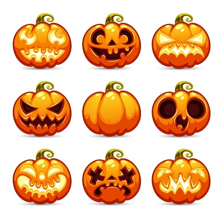 ghost face: Halloween Cartoon Pumpkins Icons Set