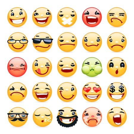 laugh emoticon: Cartoon Facial Expression Smile Icons Set Illustration