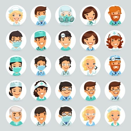 Doctors Cartoon Characters Icons   Vector