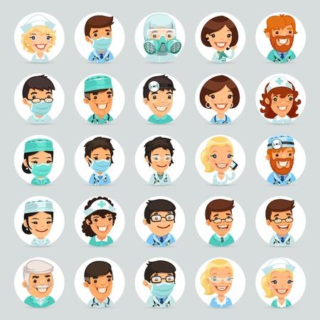 profesiones: Médicos personajes de dibujos animados Iconos