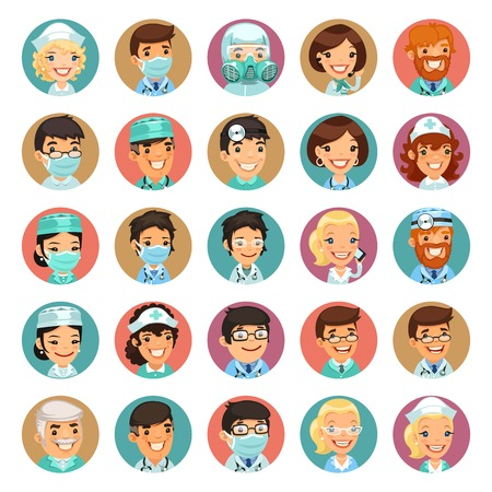 Doctors Cartoon Characters Icons Illustration