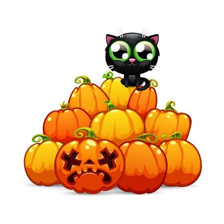 Heap of Halloween Pumpkins with a Black Cat on it