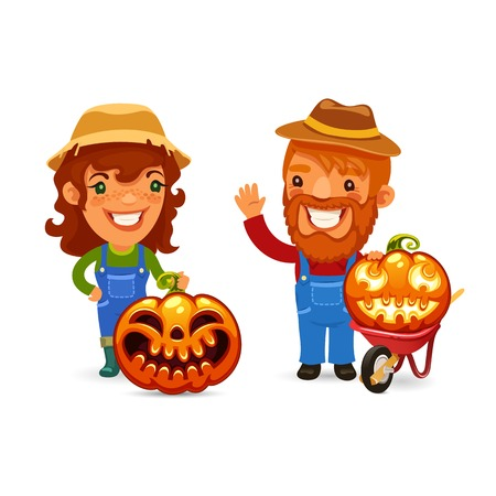 coverall: Farmers With Halloween Pumpkins Illustration