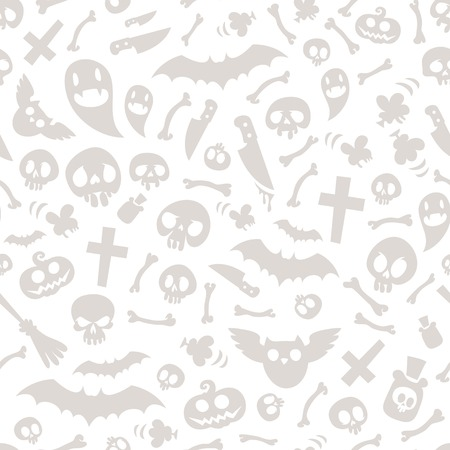 Halloween Symbols Seamless Pattern Light Vector